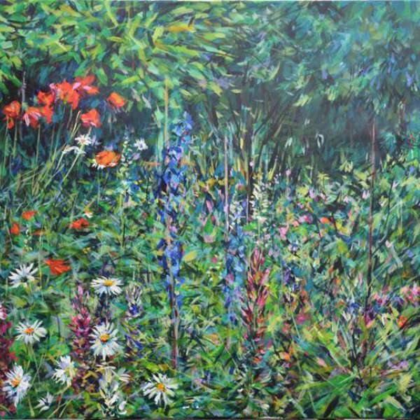 Painting of Blue Delphiniums by Peter Wood
